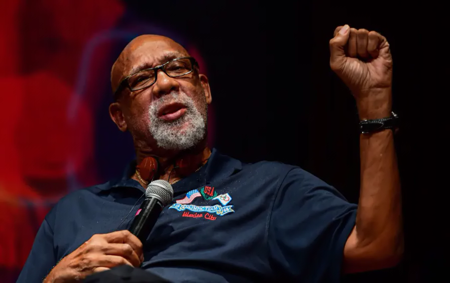 John Carlos at a conference at the National University in Mexico City, on September 24, 2018. (Ronaldo Schemidt / AFP / Getty)